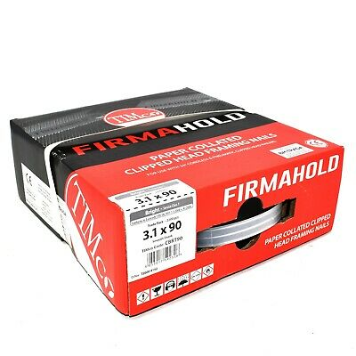 2200 CBRT90 FIRMAHOLD 3.1 X 90mm COLLATED CLIPPED HEAD SMOOTH SHANK BRIGHT NAILS • 37.99£