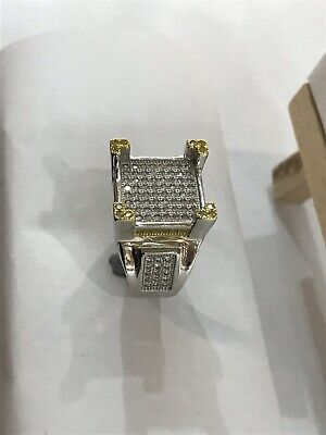 £39.99 • Buy 925 Sterling Silver Men's PINKY RING Yellow CZ Decorated CZ ALL SIZES