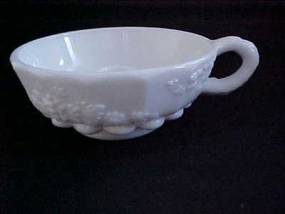 $15 • Buy Vintage Milk Glass Candle Holder-white With Handle-grape Design-used