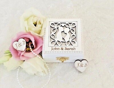 Luxury Personalised Wooden Double Wedding Ring Bearer Box / Ring Pillow • 22.75£