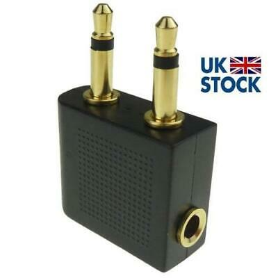 £3 • Buy 1 X Pro Airline Airplane Golden Plated Headphone Jack Plug Adapter Black + Gold