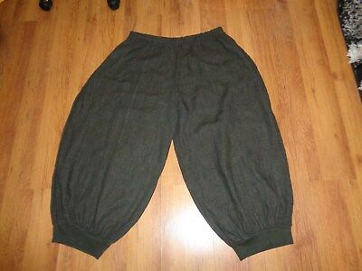 La Bass Army Green Heavy Linen Baggy Ankle Cuff Hems Harem Cullotes Pants-plus • 80£