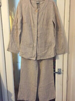 Brown Linen Trouser Suit By Poetry Size 14 Lovely Classic Piece !! • 30£