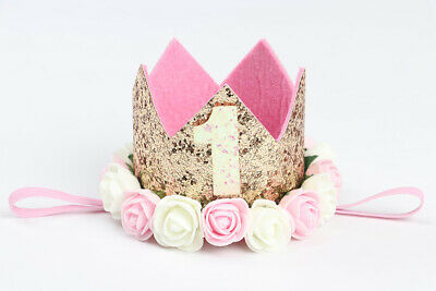 Baby Birthday Crown Hat 1st 2nd 3rd Cake Smash Outfit Party Photoshoot Girls Boy • 5.42£