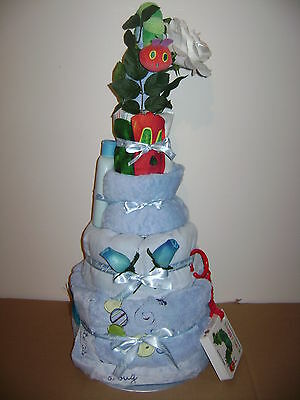 NEW Baby Boy Very Hungry Caterpillar 4 Tier Nappy Cake On A Bed Of Flowers • 59.99£