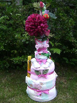 NEW Baby Girl Very Hungry Caterpillar 4 Tier Nappy Cake On A Bed Of Flowers • 59.99£
