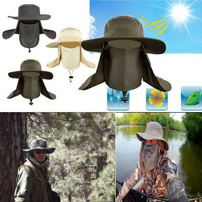 $9.99 • Buy Hiking Fishing Hat Outdoor Sport UV Sun Protection Neck Face Flap Cap Wide Brim