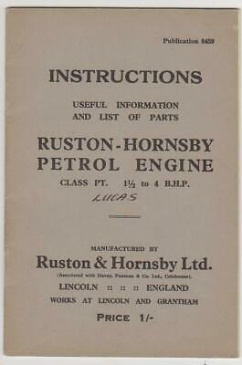 Ruston & Hornsby PT Petrol Engine - Instruction/Parts Book • 5£