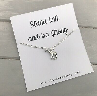 £3.99 • Buy  Stand Tall And Be Strong  Giraffe Silver Plated Necklace Message Card Gift