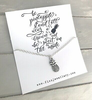 £3.99 • Buy Be A Pineapple Stand Tall Wear A Crown Silver Message Card Necklace Gift
