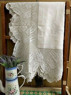 Antique Tablecloth 12  Crochet Lace Edge Swallows Hand Embroidered~Vintage Linen • 89£