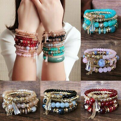 4Pcs Multilayer Natural Stone Bracelet Crystal Beaded Charm Bangle Jewelry Gifts • 1.96$