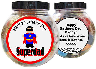 £10 • Buy Super Dad Personalised Father's Day Present - Gift Jar Of Sweets