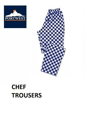 CHEF Trousers PORTWEST Blue & White Chess Check, Kitchen Cook, NEW • 12.95£