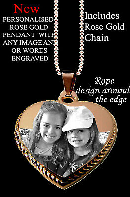 Rose Gold Photo Pendant Heart Personalised With Words Image/picture With Chain  • 12.99£