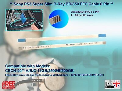 NEW Sony PS3 Super Slim Replacement  Blu-Ray (BD-850) FFC Cable 6 PIN • 3.99£