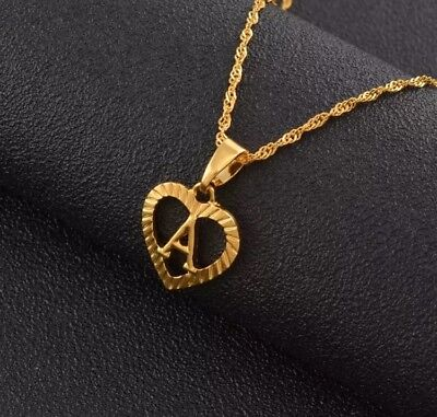 £8.99 • Buy Alphabet Initial Letters Pendant Heart Necklace Gold Plated 18k Chain UK Capital