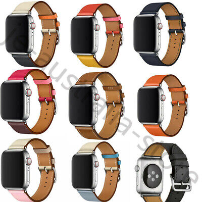 AU13.99 • Buy Leather Watch Band Belt Single/Double Tour For Apple Watch Series 5/4/3/2/1