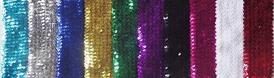 $ CDN4.34 • Buy 1 Metre Of 55MM Wide 6 ROW ELASTIC STRETCH SEQUIN TRIM : Select From 10 Colours