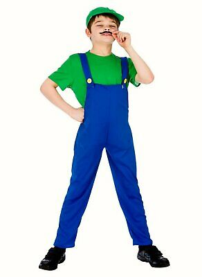 £9.99 • Buy Boys Luigi Mario Brothers Fancy Dress Costume Outfit Top Trousers Hat Plumber