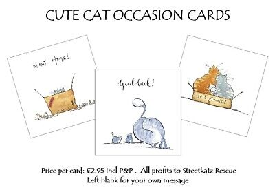 Cute Cat Themed Occasion Cards, New Home, Just Married, Good Luck, Single, Blank • 2.95£