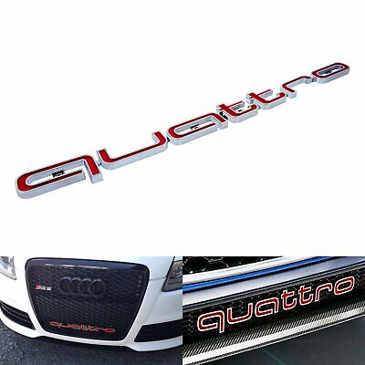 Red QUATTRO Emblem Front Badge Grill 3D Logo Chrome For Audi All A6 S6 A7 S7 Q7 • 10.27£