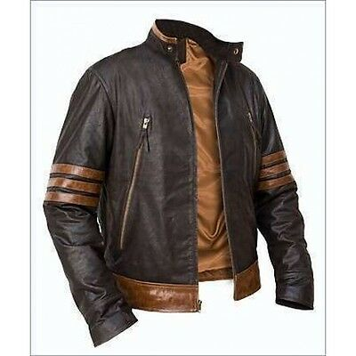 X-Men Wolverine Origins Bomber Style Brown Real Leather Jacket All Size  • 69.99£