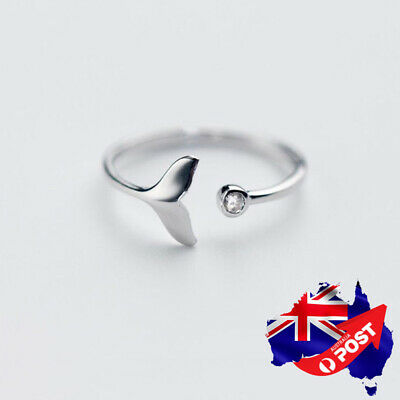 AU12.99 • Buy Genuine 925 Sterling Silver Solid Whale Mermaid Tail Plain Band Ring Adjustable