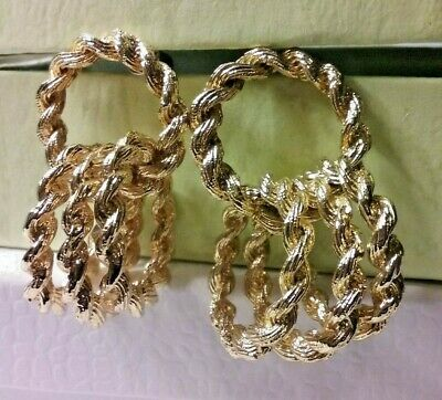 $ CDN12.21 • Buy Vintage Jewelry:2  Lots Of Loops GoldTone Pierced  Earrings 04-28-2019
