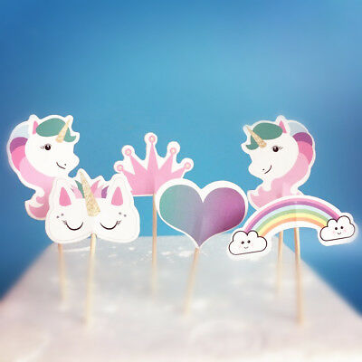 AU3.08 • Buy 24 Pcs UNICORN CUPCAKE CAKE TOPPERS Kids Party Supplies Lolly Loot Bags Decor