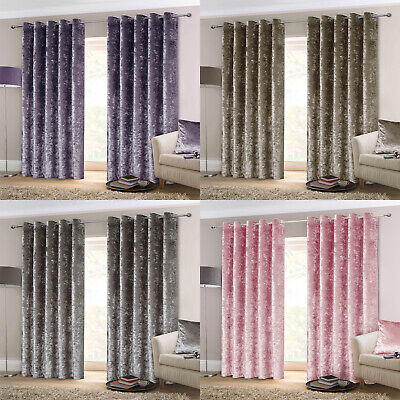 Plush Crushed Velvet Velour Heavy Lined Ready Made Eyelet Ring Top Curtains Pair • 42.99£