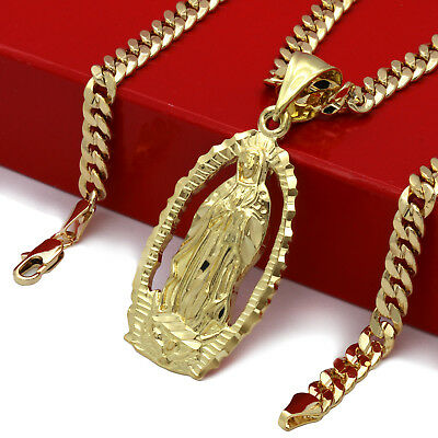 $12.99 • Buy Mens 18k Gold Plated Hip Hop HOLY MARY  Pendant 5mm 24  Cuban Necklace Chain