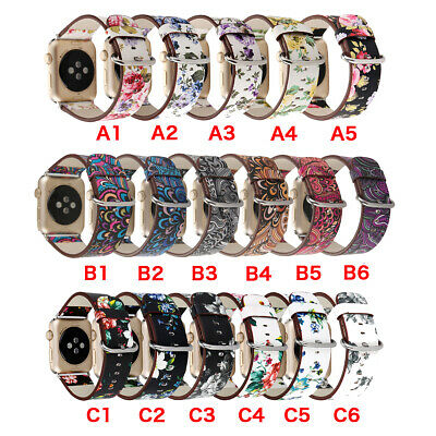 $ CDN6.27 • Buy 40/44mm Floral IWatch Leather Strap Women Band For Apple Watch Series 6 5 4 3 SE