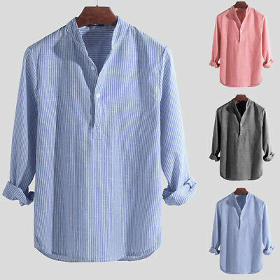 Mens Collarless Shirts Vintage Striped Shirt Grandad Button Pullover Tops Shirts • 8.99£