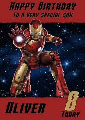 Personalised Birthday Card Iron Man Any Name/age/relation • 2.85£