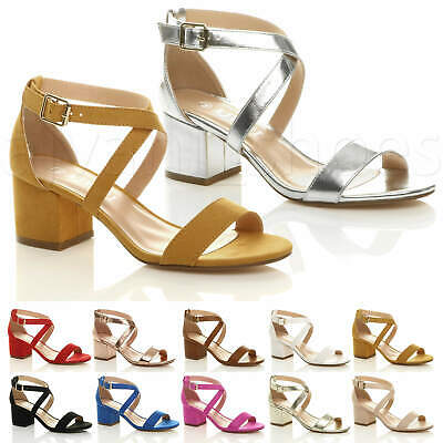 £22.99 • Buy Womens Ladies Mid Low Block Heel Cross Straps Party Strappy Sandals Shoes Size