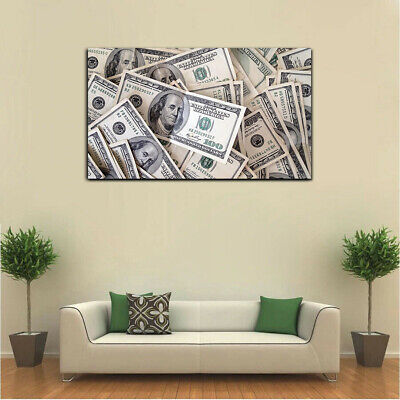 $24.99 • Buy 100 Dollar Bills Money Stack Canvas Print Wall Art Home 1 Piece
