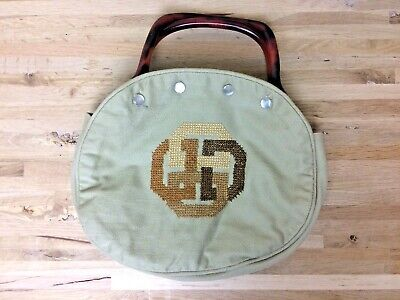 $46 • Buy Vintage Bermuda Bag EMBROIDERED  Tan LUCITE Handles Retro Kitch Mod D Ring
