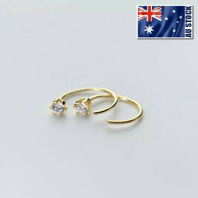 AU5.95 • Buy 925 Sterling Silver Helix Tragus Ring Sleeper Earrings Ear Nose Body Piercing