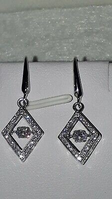 925 Sterling Silver Rhodium Plated Diamond Style Dancing Stone Drop Earrings  • 25£
