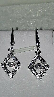 £25 • Buy 925 Sterling Silver Rhodium Plated Diamond Style Moving Stone Drop Earrings