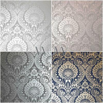 Arthouse Luxe Damask Wallpaper Metallic Textured Floral Silver Rose Gold Navy • 12.90£