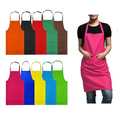 £3.50 • Buy Uk New Plain Apron With Front Pocket Chefs Butchers Kitchen Cooking Craft Baking
