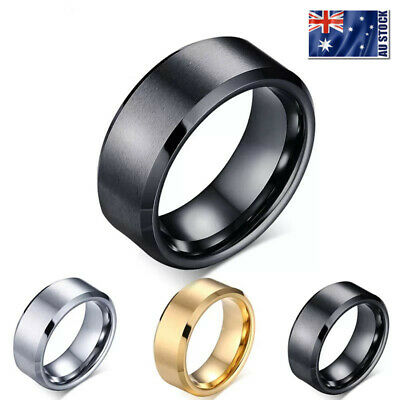 AU6.95 • Buy Titanium Stainless Steel 8mm Brushed Finish Men Women Wedding Band Comfort Ring