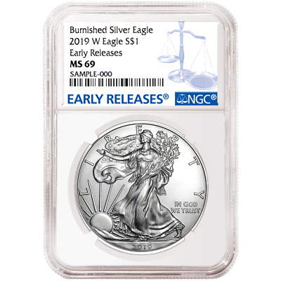$64 • Buy 2019-W Burnished $1 American Silver Eagle NGC MS69 Blue ER Label