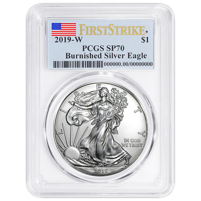$75 • Buy 2019-W Burnished $1 American Silver Eagle PCGS SP70 First Strike Flag Label