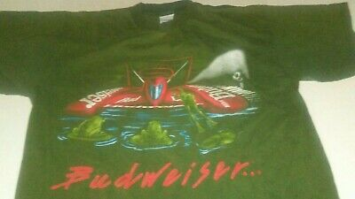 $ CDN42.09 • Buy VTG Budweiser This Buds For You 1996 Double Sided Frog Speedboat T-Shirt Large