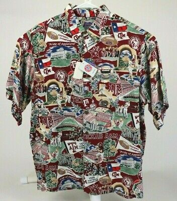 14b8a00c REYN SPOONER Sports TEXAS A&M AGGIES Football Men's Size L Hawaiian Shirt  RARE • 103.99$