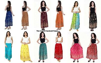 Ladies Indian Party Boho Gypsy Hippy Long Sequin Party Skirt Dress Rayon Skirts • 10.99£