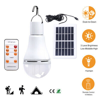 Portable Solar Lamp LED Light Bulb Outdoor Lighting Hook Camp Tent Garden Indoor • 7.19£